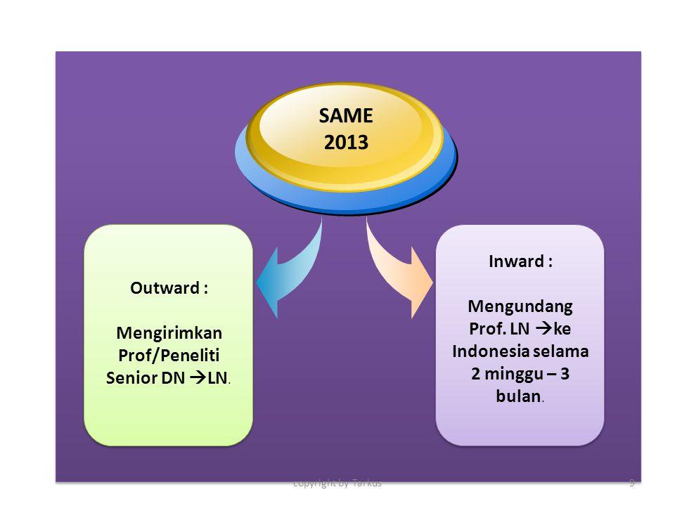 Inward : Mengundang Prof. LN ke Indonesia selama 2 minggu – 3 bulan. Outward : Mengirimkan Prof/Peneliti Senior DN LN.