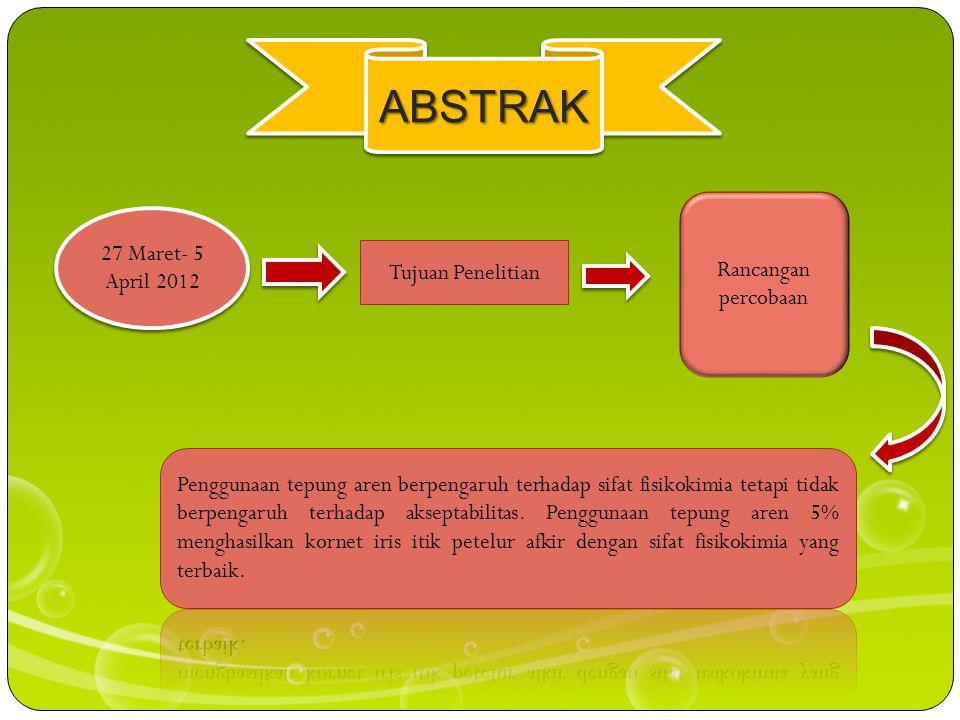 ABSTRAK Rancangan percobaan 27 Maret- 5 April 2012 Tujuan Penelitian