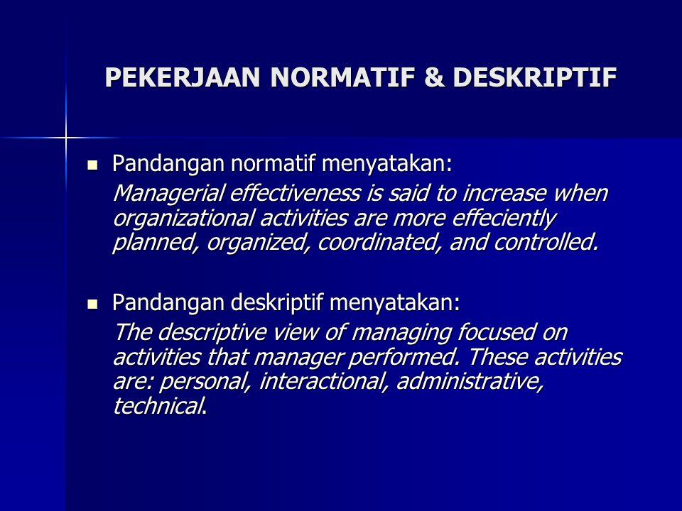 PEKERJAAN NORMATIF & DESKRIPTIF