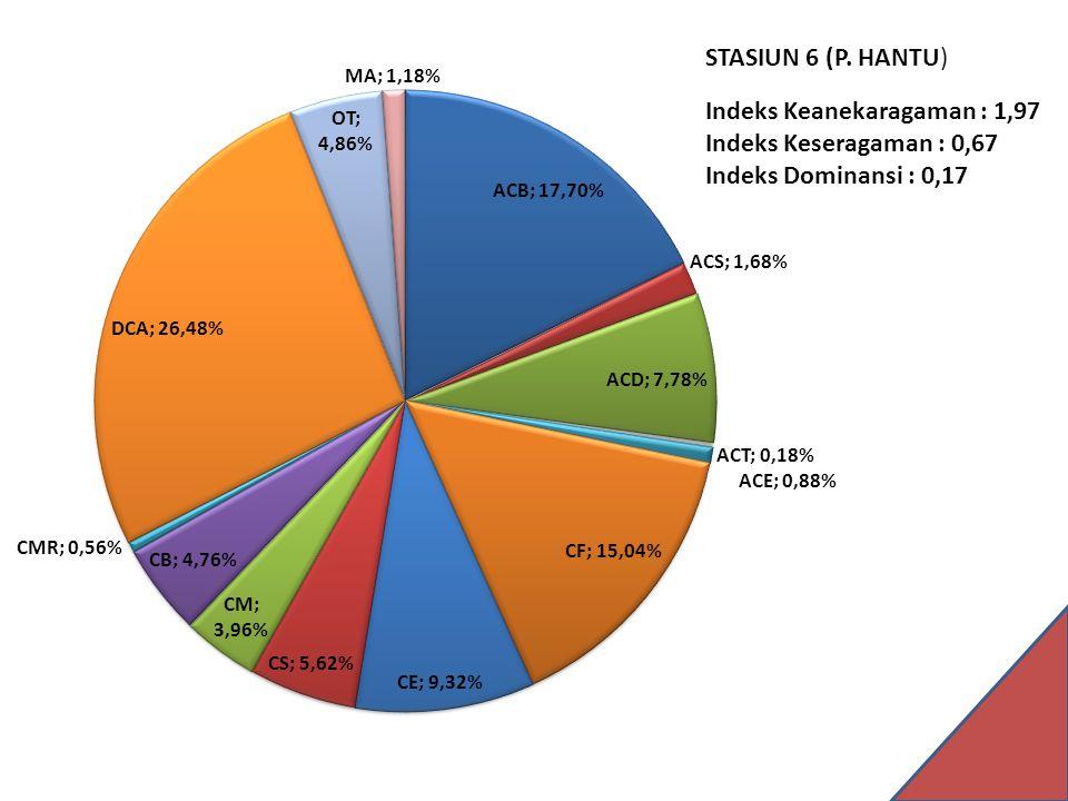 STASIUN 6 (P. HANTU) Indeks Keanekaragaman : 1,97 Indeks Keseragaman : 0,67 Indeks Dominansi : 0,17