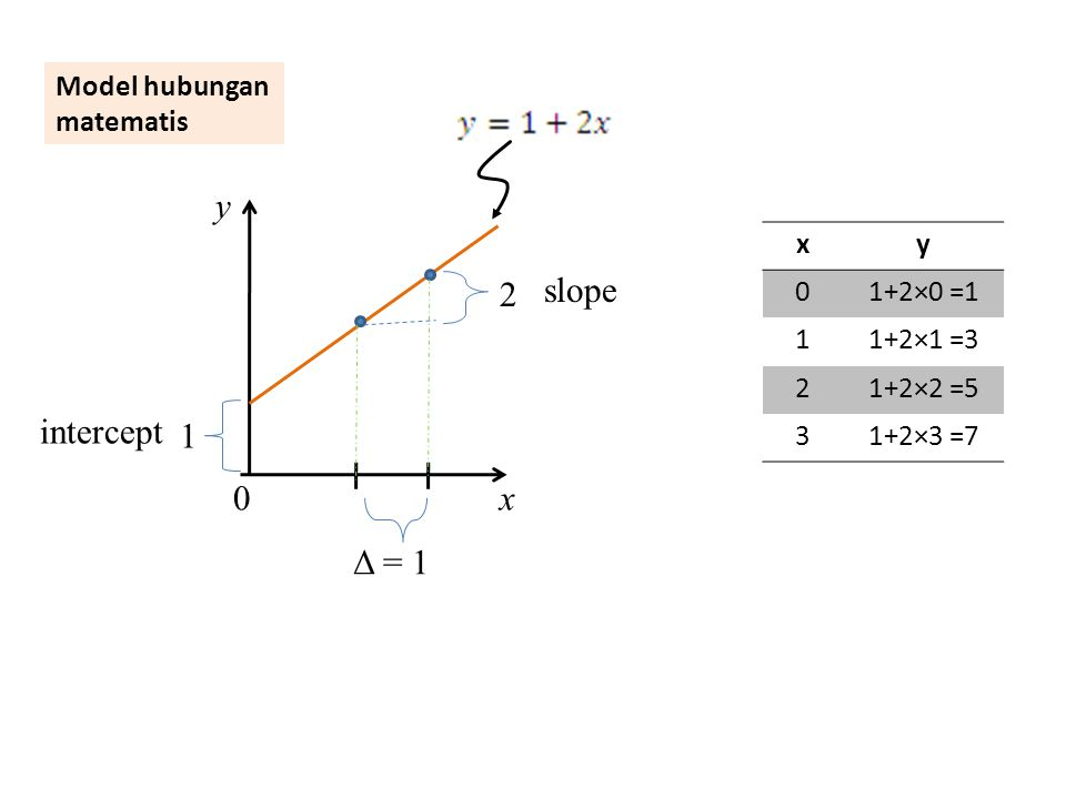 y slope 2 intercept 1 x Δ = 1 Model hubungan matematis x y 1+2×0 =1 1