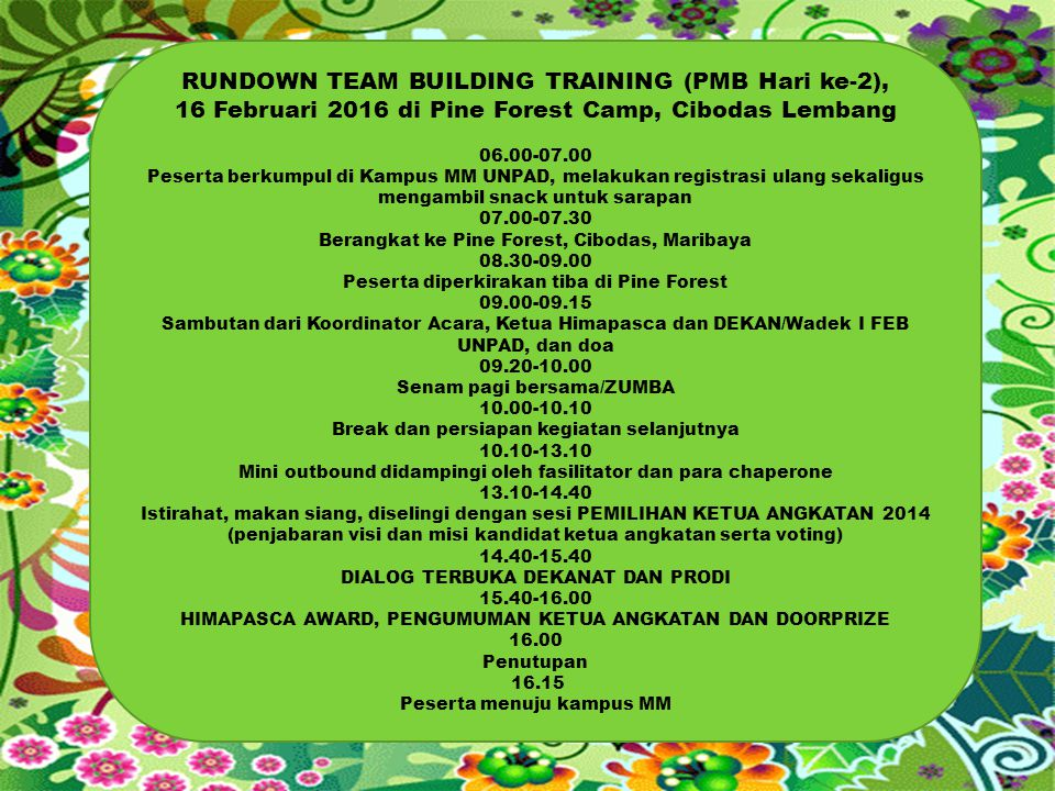 RUNDOWN TEAM BUILDING TRAINING (PMB Hari ke-2),