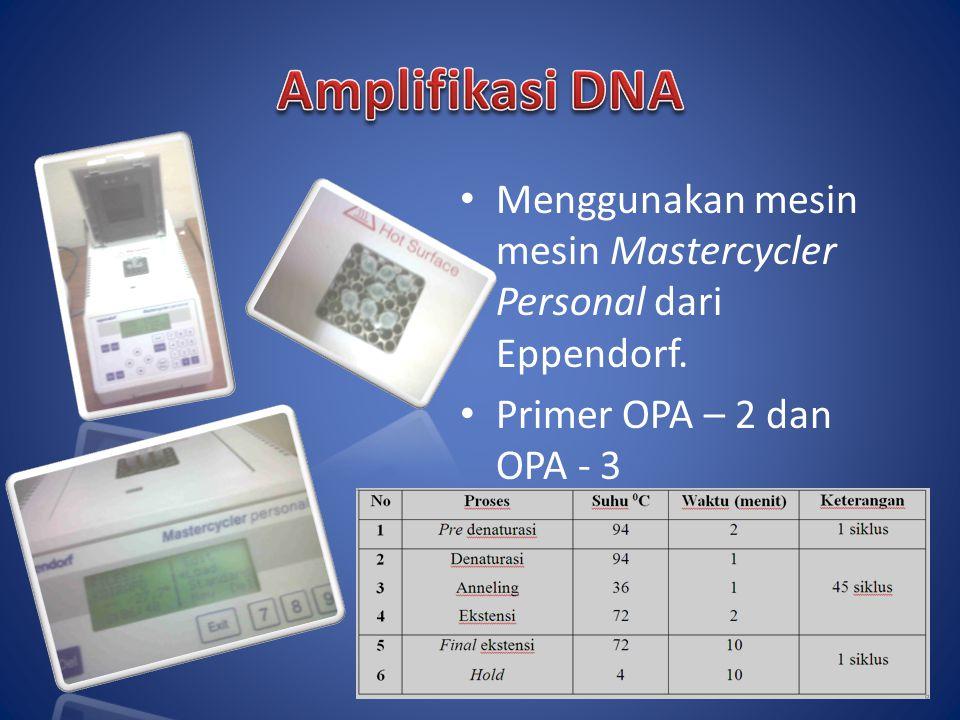 Amplifikasi DNA Menggunakan mesin mesin Mastercycler Personal dari Eppendorf.