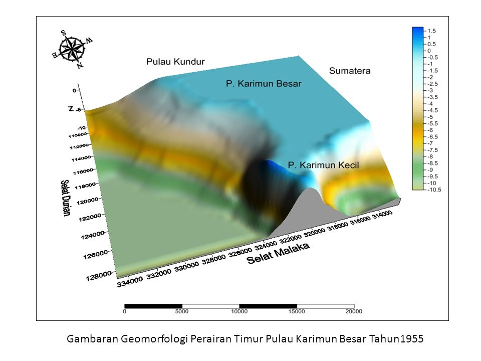 Gambaran Geomorfologi Perairan Timur Pulau Karimun Besar Tahun1955