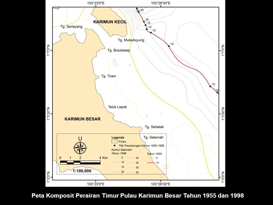 Peta Komposit Perairan Timur Pulau Karimun Besar Tahun 1955 dan 1998