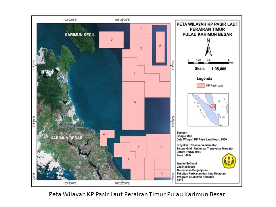 Peta Wilayah KP Pasir Laut Perairan Timur Pulau Karimun Besar