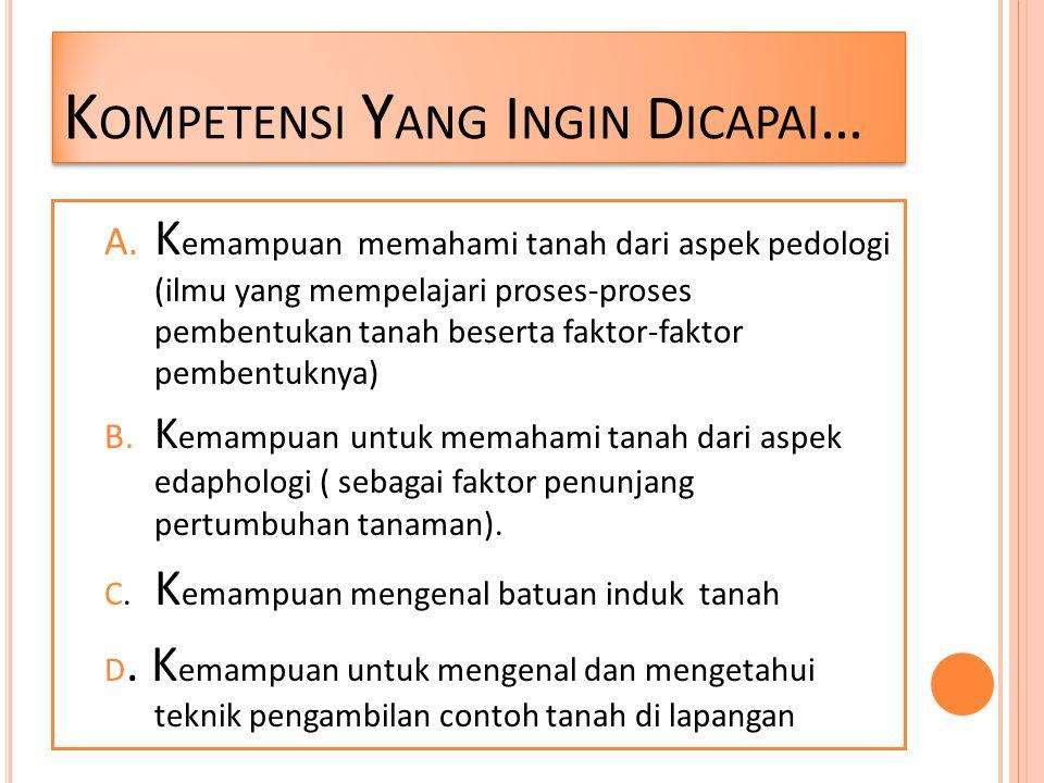 Kompetensi Yang Ingin Dicapai…