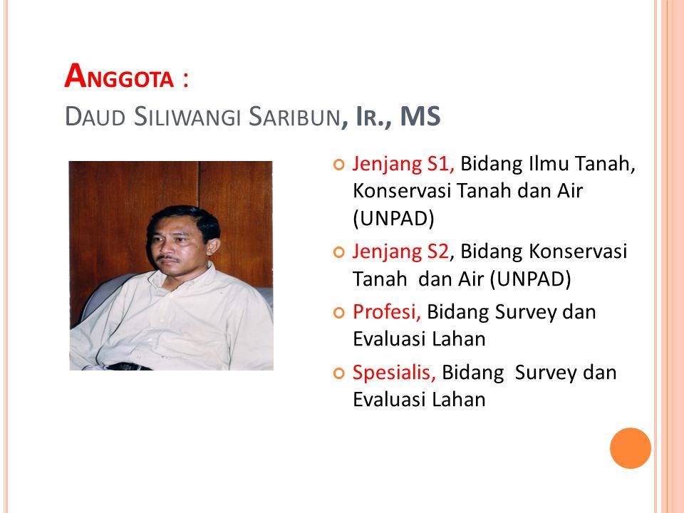 Anggota : Daud siliwangi Saribun, Ir., MS