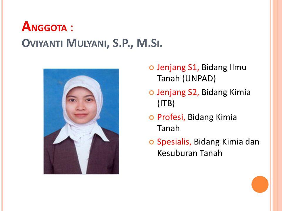 Anggota : Oviyanti Mulyani, S.P., M.Si.