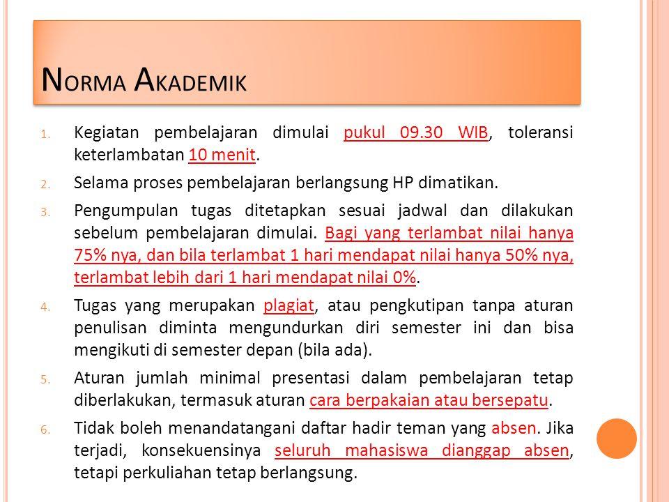 Norma Akademik Kegiatan pembelajaran dimulai pukul 09.30 WIB, toleransi keterlambatan 10 menit.