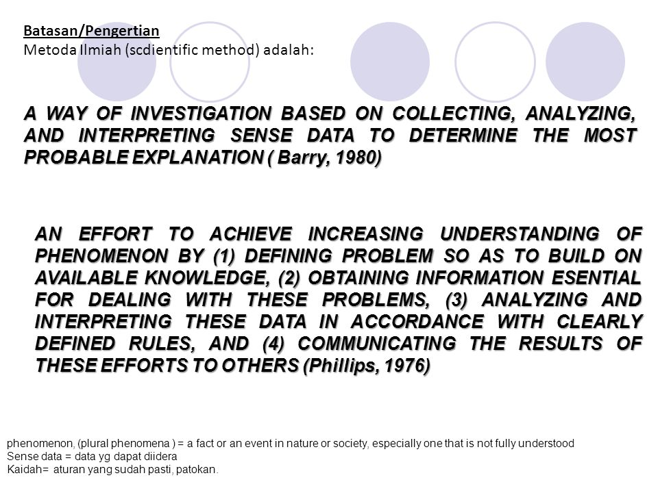 Batasan/Pengertian Metoda Ilmiah (scdientific method) adalah: