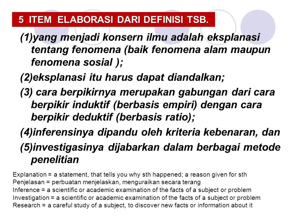 5 ITEM ELABORASI DARI DEFINISI TSB.
