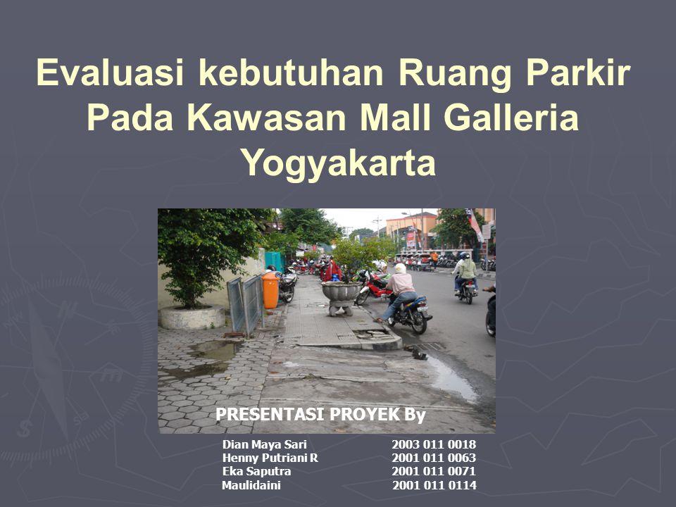 Evaluasi kebutuhan Ruang Parkir Pada Kawasan Mall Galleria