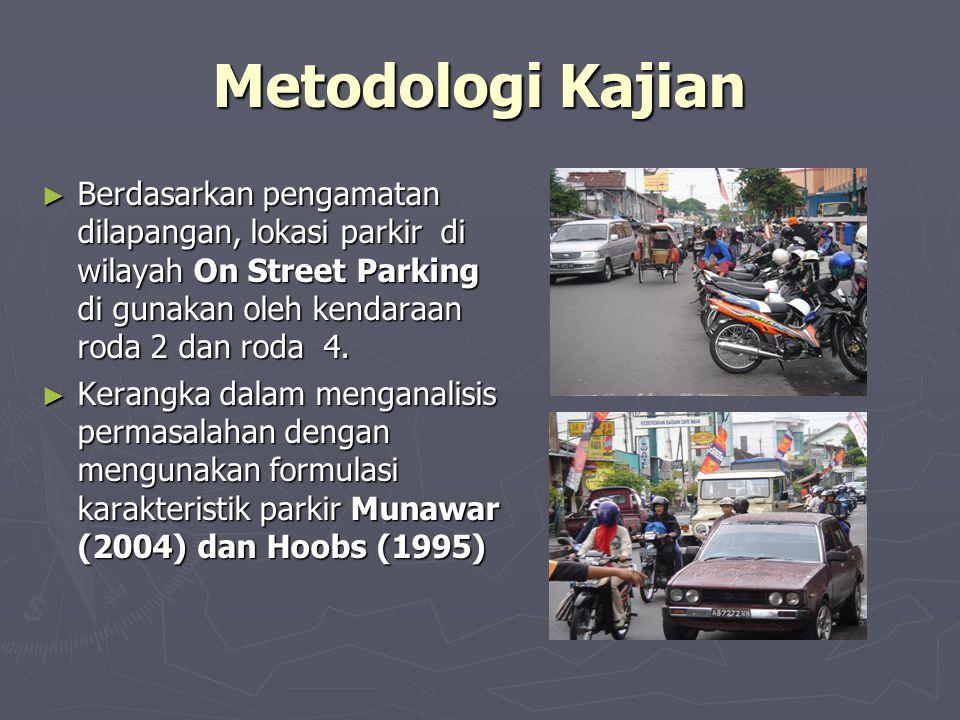Metodologi Kajian Berdasarkan pengamatan dilapangan, lokasi parkir di wilayah On Street Parking di gunakan oleh kendaraan roda 2 dan roda 4.