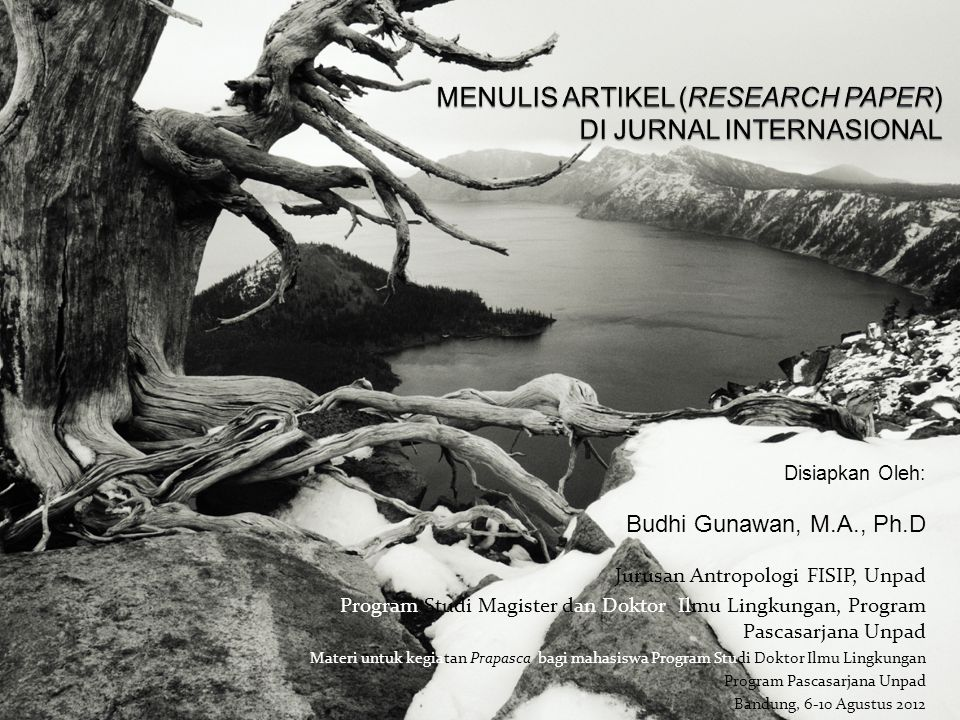 MENULIS ARTIKEL (RESEARCH PAPER) DI JURNAL INTERNASIONAL