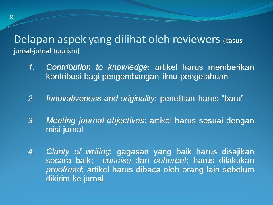 9 Delapan aspek yang dilihat oleh reviewers (kasus jurnal-jurnal tourism)