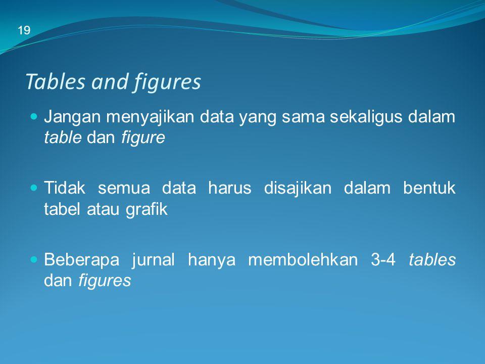 19 Tables and figures. Jangan menyajikan data yang sama sekaligus dalam table dan figure.