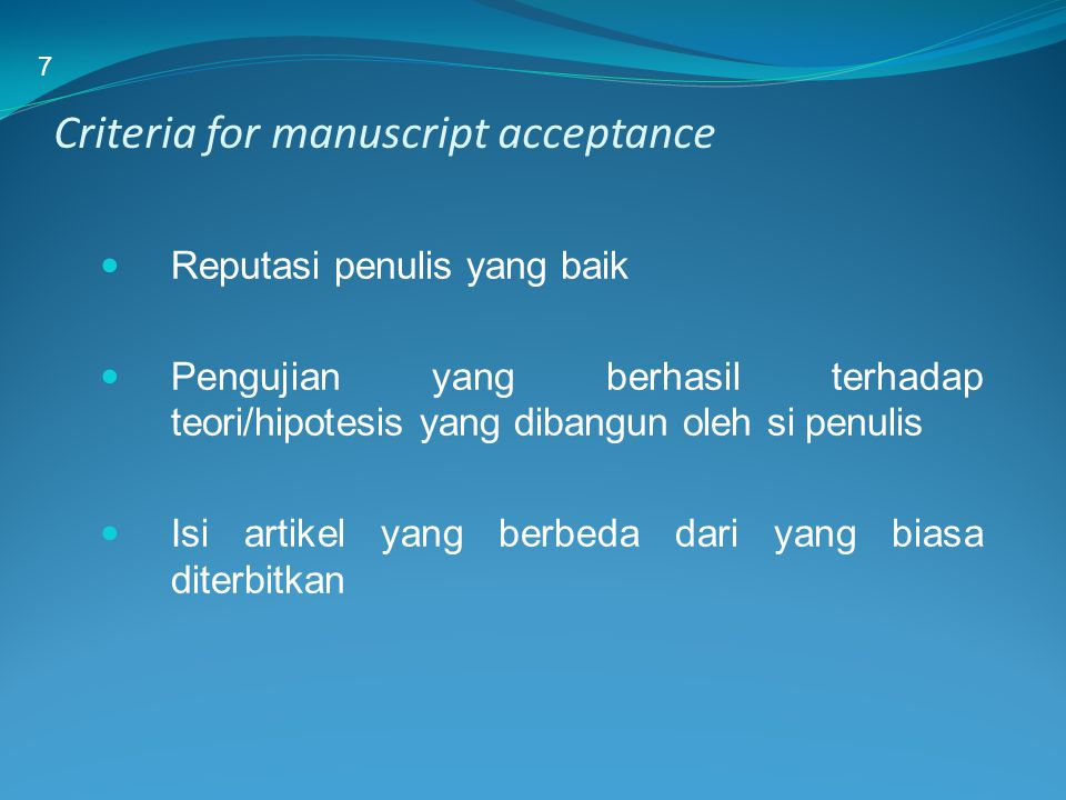 Criteria for manuscript acceptance