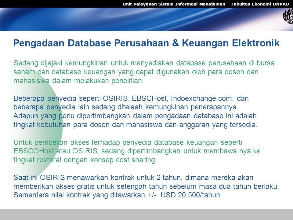 Pengadaan Database Perusahaan & Keuangan Elektronik