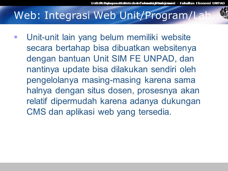 Web: Integrasi Web Unit/Program/Lab.