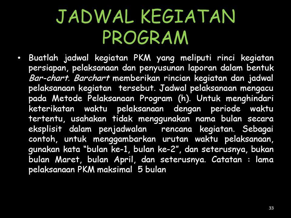 JADWAL KEGIATAN PROGRAM