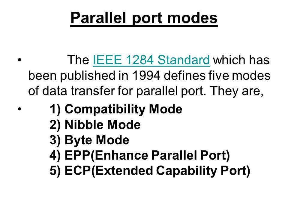 Parallel port modes