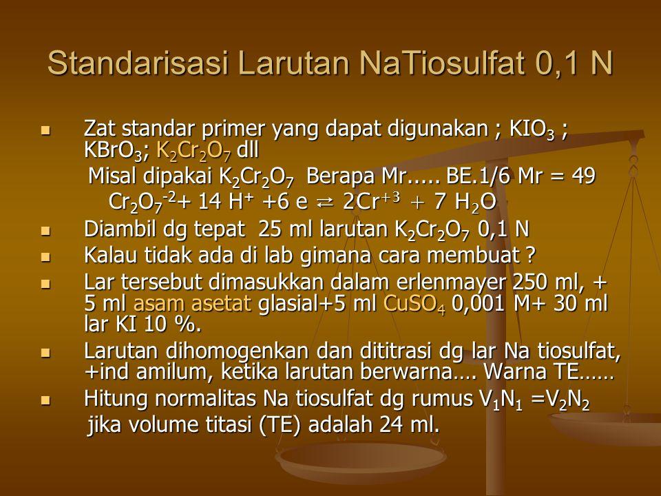 Standarisasi Larutan NaTiosulfat 0,1 N