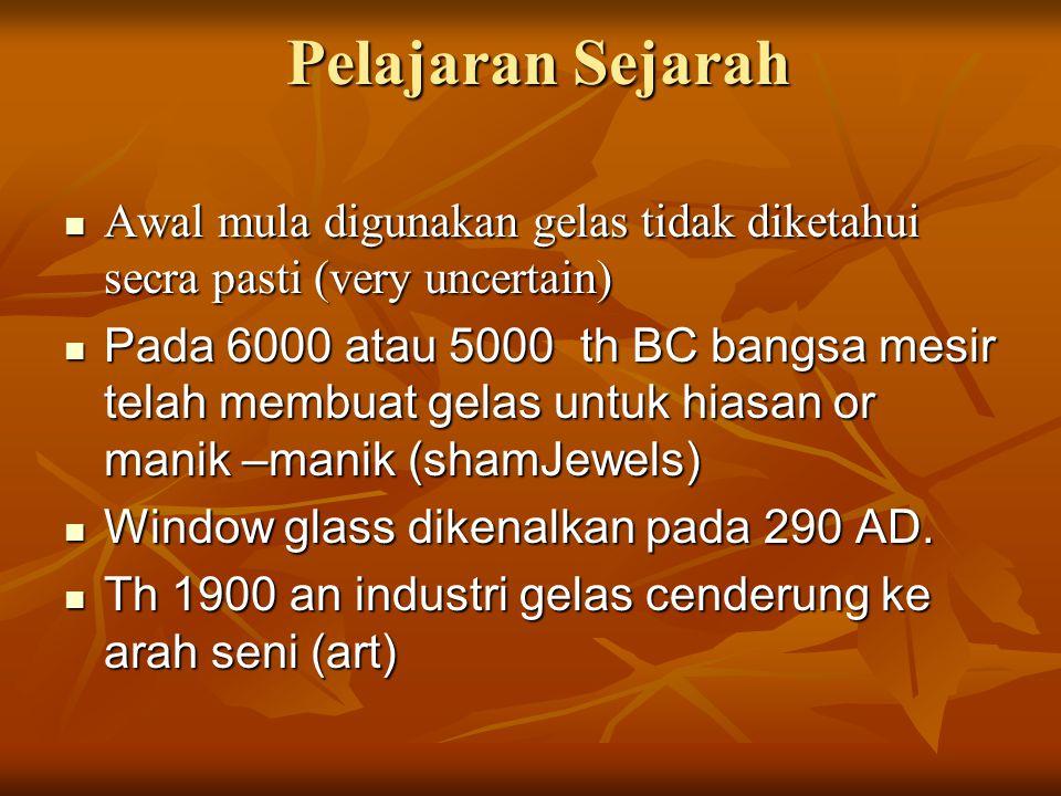 Pelajaran Sejarah Awal mula digunakan gelas tidak diketahui secra pasti (very uncertain)