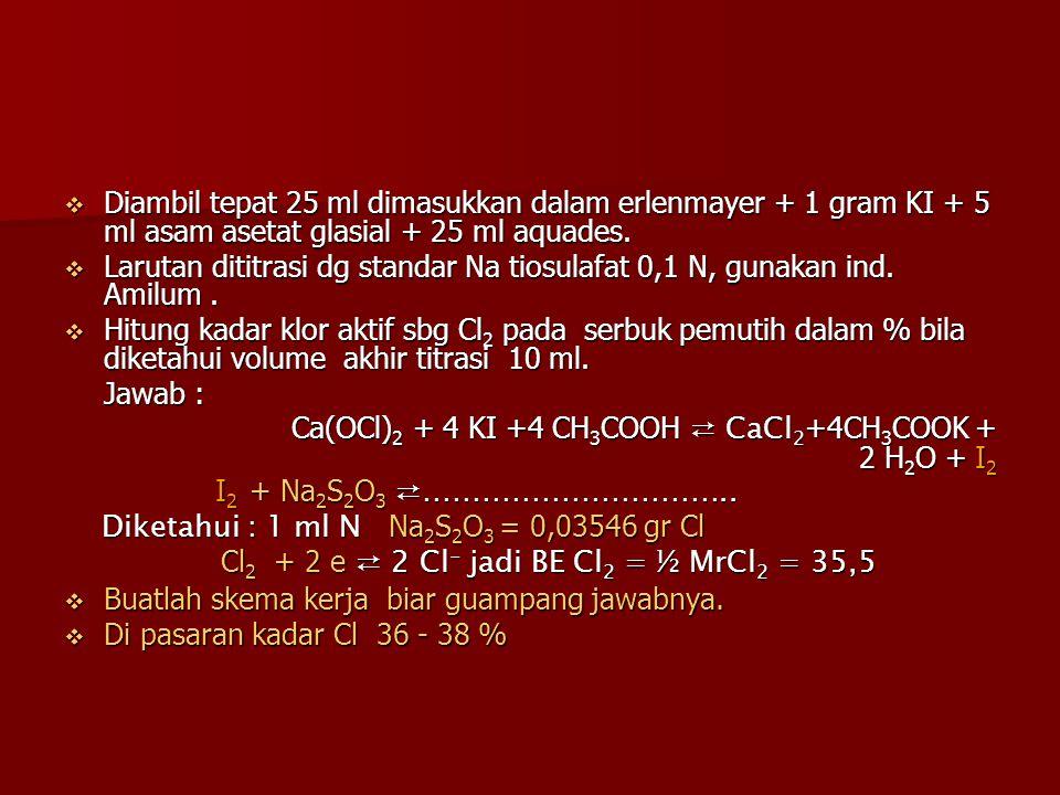 Diambil tepat 25 ml dimasukkan dalam erlenmayer + 1 gram KI + 5 ml asam asetat glasial + 25 ml aquades.