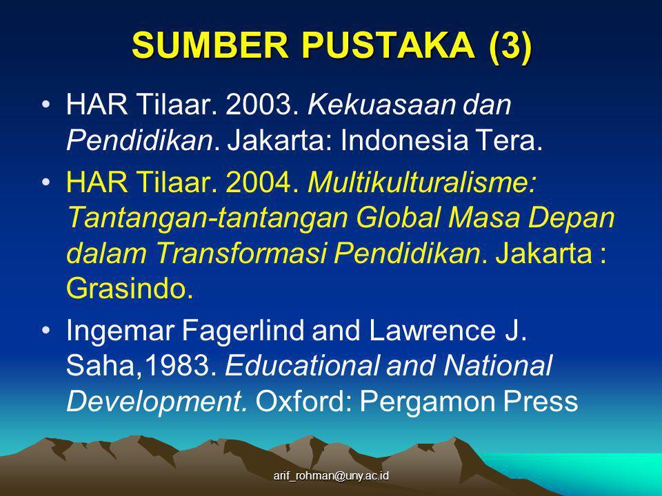 SUMBER PUSTAKA (3) HAR Tilaar. 2003. Kekuasaan dan Pendidikan. Jakarta: Indonesia Tera.