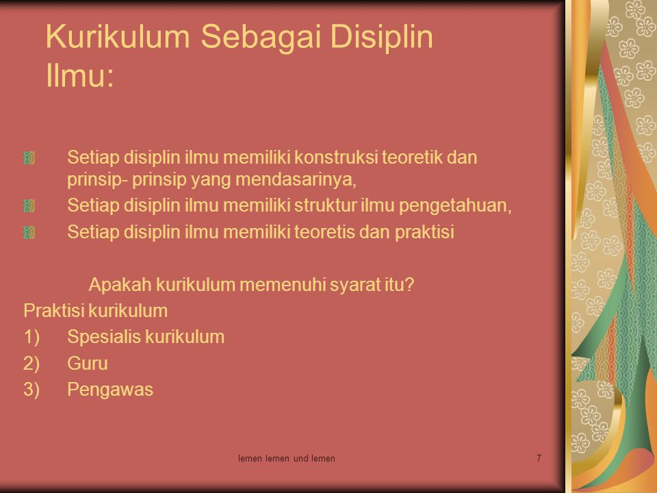 Kurikulum Sebagai Disiplin Ilmu: