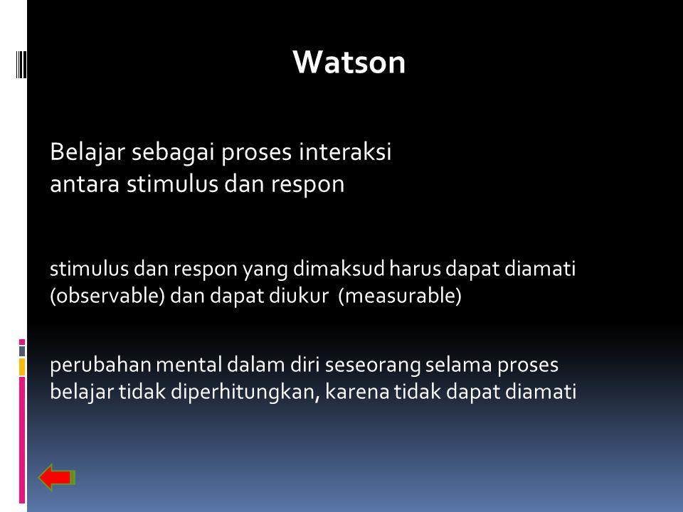 Watson Belajar sebagai proses interaksi antara stimulus dan respon