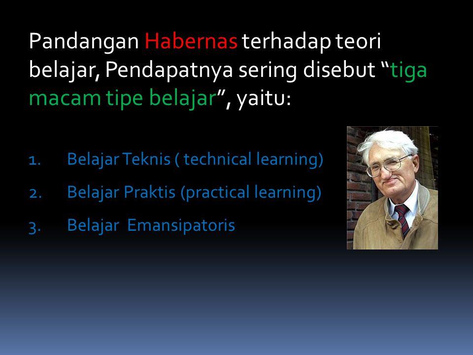 Pandangan Habernas terhadap teori belajar, Pendapatnya sering disebut tiga macam tipe belajar , yaitu: