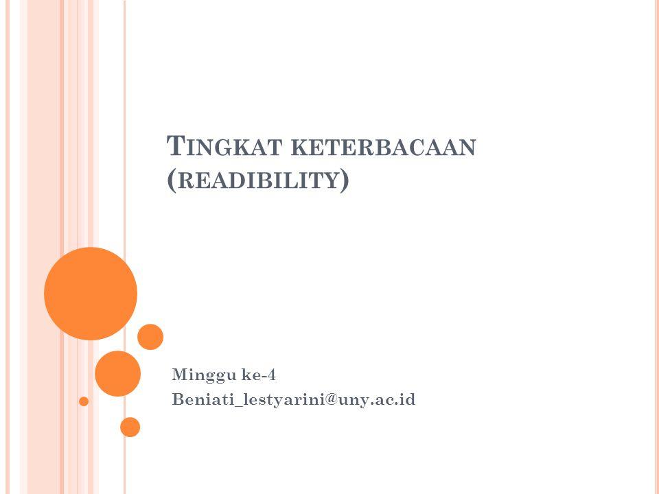 Tingkat keterbacaan (readibility)