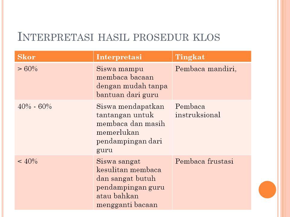 Interpretasi hasil prosedur klos
