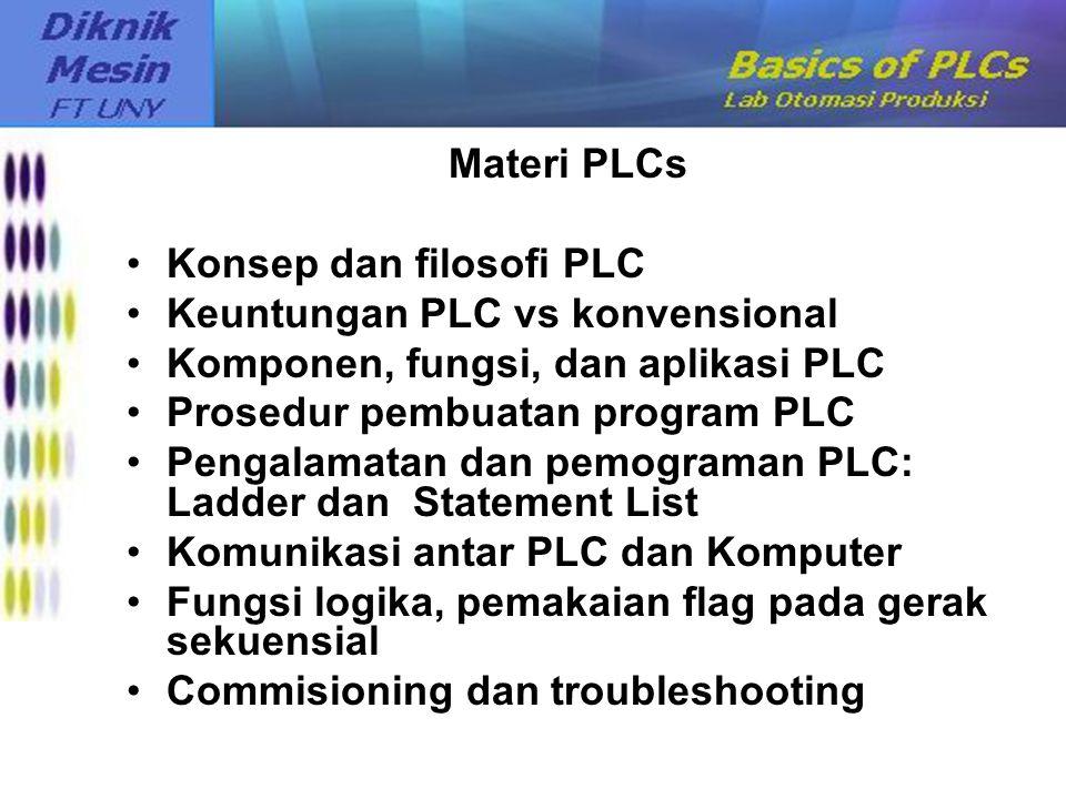 Materi PLCs Konsep dan filosofi PLC. Keuntungan PLC vs konvensional. Komponen, fungsi, dan aplikasi PLC.