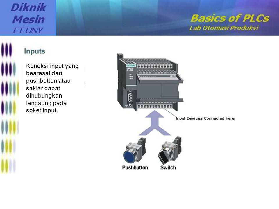 Koneksi input yang bearasal dari pushbotton atau saklar dapat dihubungkan langsung pada soket input.