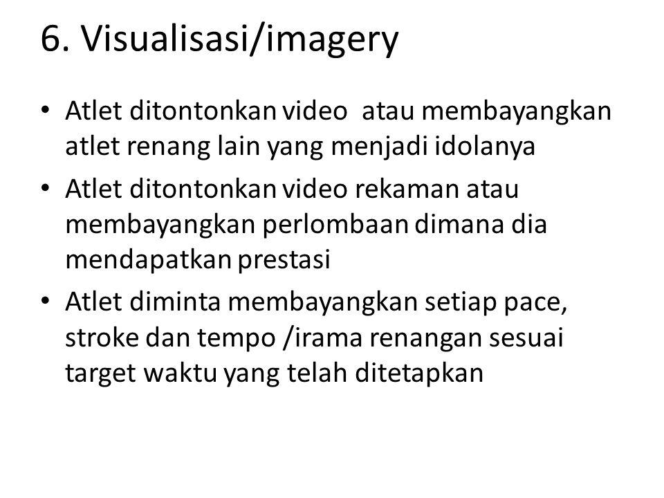 6. Visualisasi/imagery Atlet ditontonkan video atau membayangkan atlet renang lain yang menjadi idolanya.
