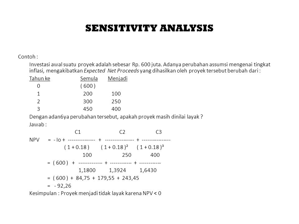 SENSITIVITY ANALYSIS Contoh :