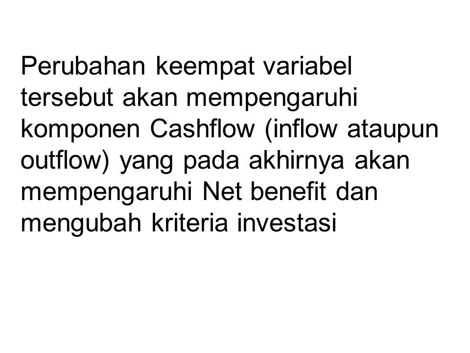 Perubahan keempat variabel tersebut akan mempengaruhi komponen Cashflow (inflow ataupun outflow) yang pada akhirnya akan mempengaruhi Net benefit dan mengubah kriteria investasi