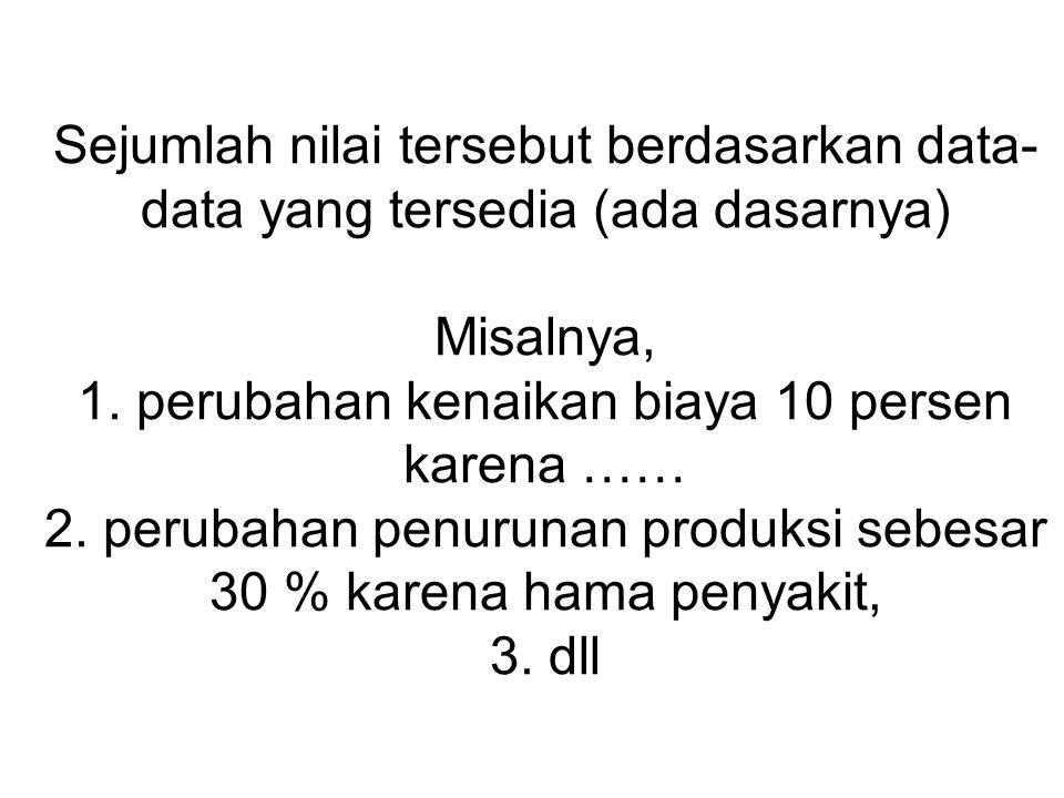 Sejumlah nilai tersebut berdasarkan data-data yang tersedia (ada dasarnya) Misalnya, 1.