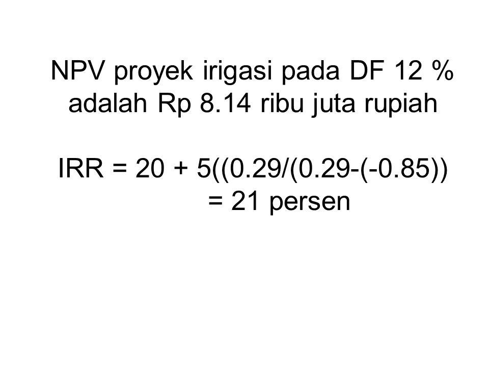 NPV proyek irigasi pada DF 12 % adalah Rp 8