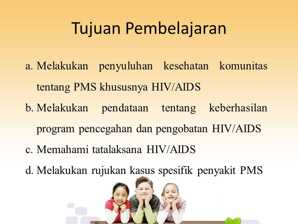 Tujuan Pembelajaran Melakukan penyuluhan kesehatan komunitas tentang PMS khususnya HIV/AIDS.