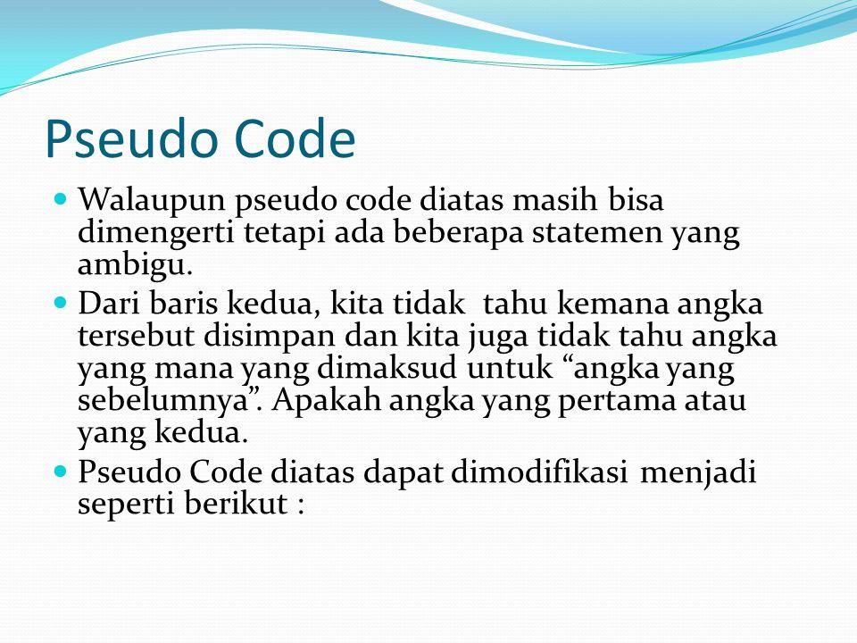 Pseudo Code Walaupun pseudo code diatas masih bisa dimengerti tetapi ada beberapa statemen yang ambigu.