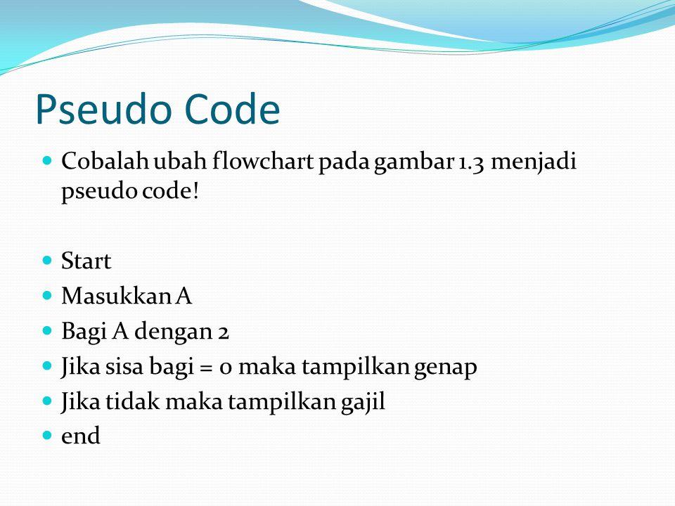 Pseudo Code Cobalah ubah flowchart pada gambar 1.3 menjadi pseudo code! Start. Masukkan A. Bagi A dengan 2.