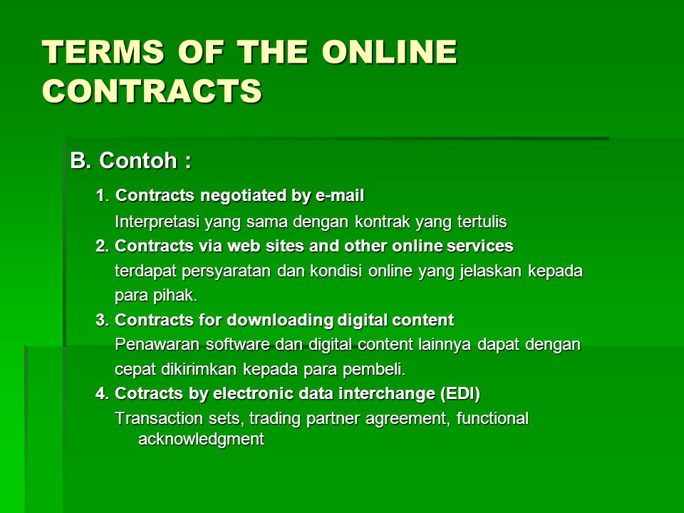 TERMS OF THE ONLINE CONTRACTS