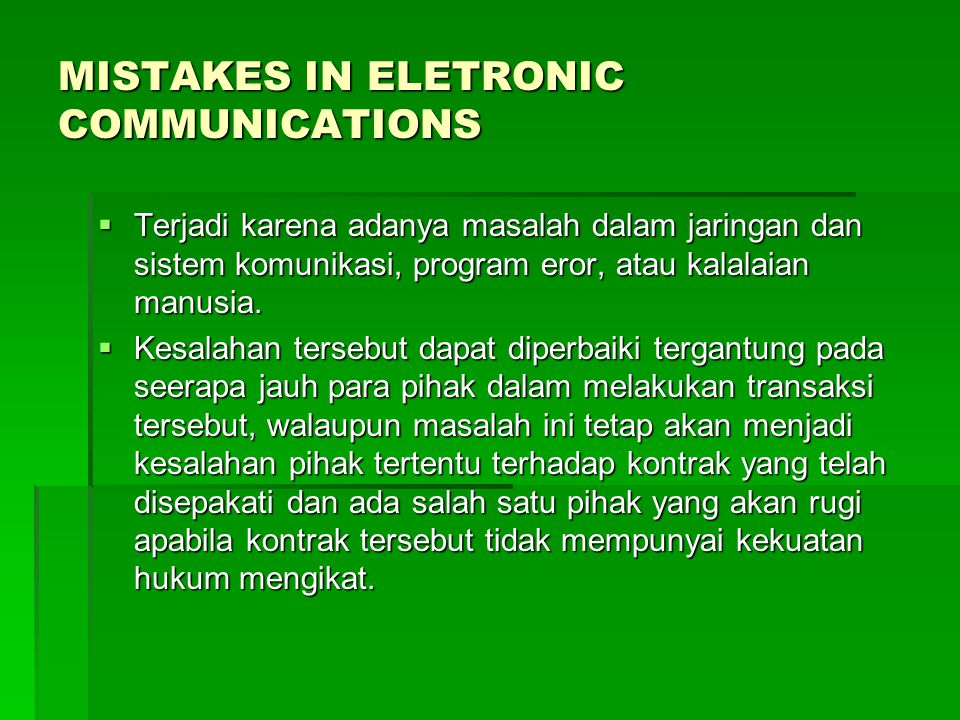 MISTAKES IN ELETRONIC COMMUNICATIONS