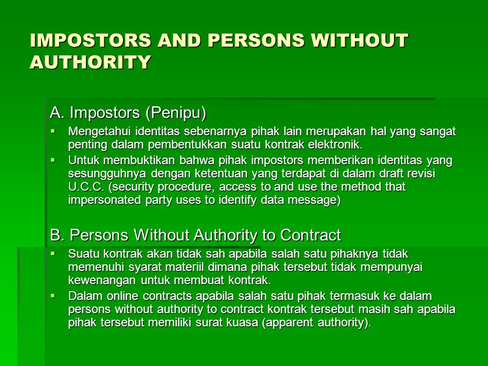 IMPOSTORS AND PERSONS WITHOUT AUTHORITY