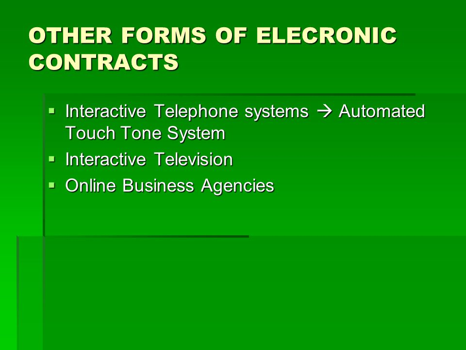 OTHER FORMS OF ELECRONIC CONTRACTS