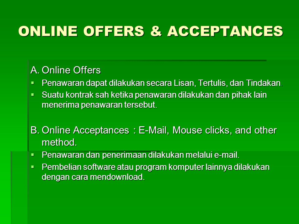 ONLINE OFFERS & ACCEPTANCES